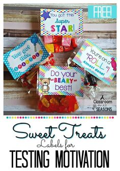 Candy labels for testing motivation! Add some treats to these free candy labels for a little fun during testing time!