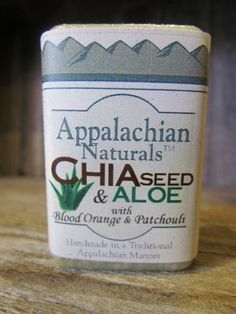 Our Chia Seed and Aloe natural soap has pure patchouli essential oil paired with sweet blood orange essential oil, oats, patchouli herb, and nice slick chia seeds that will exfoliate while packing your skin full of nutrients.  Appalachian Naturals