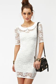 Sweet Dreams Dress from NastyGal.com  Love this love this. Sweet collar, lace, white, short, sexy, what?