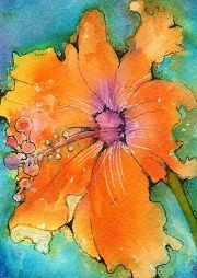 """Flower for Sal"" watercolor ATC by Bonnie Tincup"