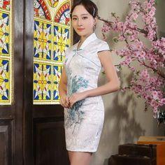 White Fancy Cotton Pheonix Embroidery V Collar Reformed Cheongsam