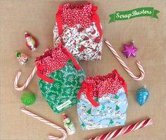 ScrapBusters: Mini Drawstring Gift Bags - free pattern @ Sew4Home