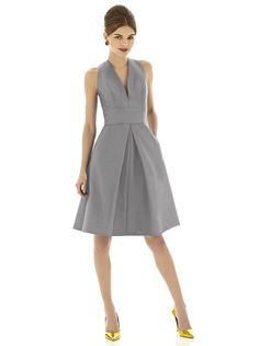 Cocktail length v-neck dupioni dress with inset waistband and inverted pleat at front and back skirt. Pockets at side seams of skirt.   http://www.dessy.com/dresses/bridesmaid/d610/