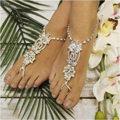barefoot sandals - lace-rhinestone-wedding foot jewelry-beach-bridal