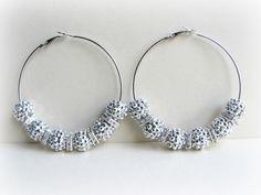 POParazzi Inspired Basketball Wives Earrings, Silver Rhinestone Hoops - All-Earz Jewelry