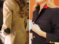 Hammers and High Heels: No-Sew Fall Blazer Elbow & Lapel DIY Updates. I'd love to repurpose the silk from some old ties to add pop under the colar of some boring blazers.