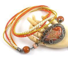 Wire wrap necklace, sterling silver orange necklace, gemstone wire wrapped jewelry, fine jewelry, autumn jewelry MadeBySunflower
