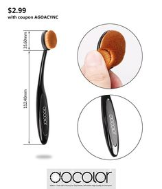 $2.99 with COUPON AGOACYNC, Docolor Black Cosmetic Oval Makeup Brush Single…