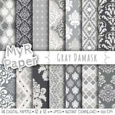 """With #love by @myrpaper #pattern #design #graphic #paperdesign #papercraft #scrapbooking #digitalpaper damask digital paper: """"GRAY DAMASK"""" digital paper pack with grey (gray) damask backgrounds and patterns for scrapbooking di MyRpaper su Etsy"""