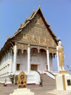 Wat adjacent to the Pha That Luang in Vientiane, Laos.