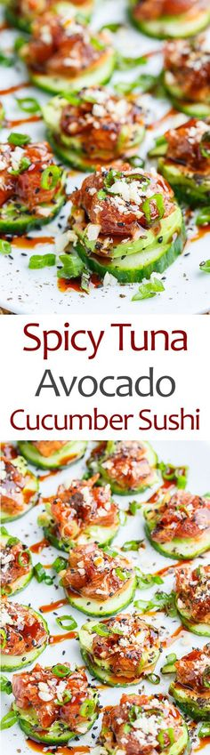 Spicy Tuna and Avocado Cucumber Sushi Bites. Delicious choice for a sushi dinner party!