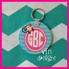 """Monkey Monogram Madness"" design on a round keychain.  Photo shows one side printed but we can do both.  Font shown is circle font."