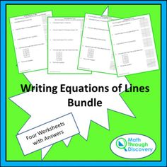 four activity sheets on writing equations of lines