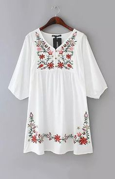 Shop White V Neck Hibiscus Embroidered Loose Dress online. SheIn offers White V Neck Hibiscus Embroidered Loose Dress & more to fit your fashionable needs. Floral Embroidery Dress, White Embroidery, Embroidered Dresses, Embroidered Flowers, Embroidery Fashion, Look Boho, Boho Fashion, Womens Fashion, Fashion Dresses