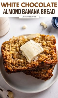 This simple White Chocolate Almond Banana Bread recipe is packed with white chocolate chips, sliced almonds and so rich and moist. Have it for breakfast, a snack or straight from the oven when you are baking! This bread is the BEST! #bananabread #baking #whitechocolate #almond #recipe Almond Banana Bread, Chocolate Banana Bread, Baked Banana, Chocolate Chips, White Chocolate, Healthy Bread Recipes, Banana Bread Recipes, Snack Recipes, Dessert Recipes