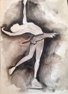 Figure Skater ~ watercolor art