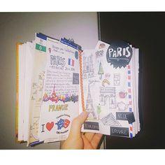 My first travel experience in my new travel journal #paris #travel #traveljournal #scrapbook #creative #idea