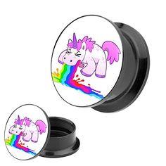 Piercingfaktor Ohr Plug Flesh Tunnel Piercing Schmuck Kunststoff Schraub Schraubverschluß mit Picture Motiv kotzendes Einhorn #unicorn #einhorn #einhörner