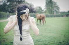 Bohemian vintage and ethereal wedding dresses by Claire Pettibone and divine art deco style accessories by DC Bouquets