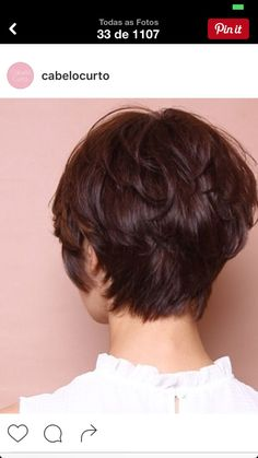 layered long pixie (back view) Short Hair Back, Short Hair With Layers, Short Curly Hair, Short Hair Cuts, Curly Hair Styles, Short Layered Haircuts, Short Hairstyles For Women, Short Wedge Haircut, Short Human Hair Wigs