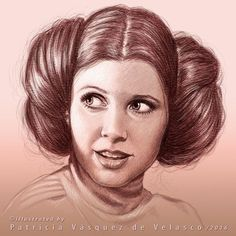"""""Star Wars Portraits by Patricia Vásquez de Velasco "" Princess Leia (Star Wars, Empire Strikes Back, Return of the Jedi) Star Wars Film, Star Wars Fan Art, Star Wars Quotes, Star Wars Humor, Carrie Fisher, Leia Star Wars, Star Trek, Star Wars Princess Leia, Star Wars Painting"