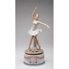 Fine Porcelain Ballerina in White Dress Musical Box