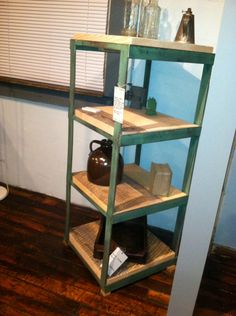 Rustic Modern Shelving or display made from reclaimed wood and salvaged steel! GREAT for Displays! Sustainable Reclaimed wood Furniture by ReworxCT on Etsy https://www.etsy.com/listing/166956673/rustic-modern-shelving-or-display-made