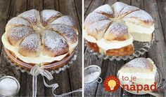 Luxusný dezert z formy na bábovku s jednoduchým no o to fantastickejším krémom. Potrebujeme: 2 hrnčeky hladkej múky 1 hrnček kryštálového cukru 1 hrnček mlieka 3 vajcia 9 lyžíc oleja 1 vrecúško vanilkového cukru 1 kypriaci prášok Na krém: 150 g mascarpone 3 dl smotany na