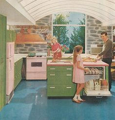 vintage whirl pool | lovely vintage kitchen with pink Whirlpool appliances... and green ...
