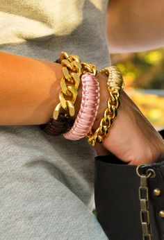 Handmade macrame bracelets with gold plated chain