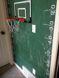 green chalkboard painted hallway for kids sports wall . this is in between my boys rooms. house of paint.: DIY Green Chalk Sports Wall