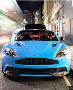 Powder blue Aston Martin