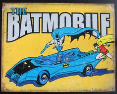 Batman Batmobile Poster Tin Sign, 16 x 12.5 Metal Poster Original Made in USA by ArtMaxAntiques on Etsy