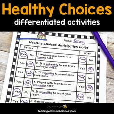 These ready-to-use printables and digital Google Slides are the perfect way to support your students during a health unit on making healthy choices. The healthy choices differentiated activities packet contains a number of options to help your Grade 1, Grade 2, and Grade 3 students develop their und... Healthy Habits For Kids, Healthy Choices, Venn Diagram Template, What Is Healthy, Health Unit, Health Activities, Word Sorts, Special Education Teacher, Student Engagement
