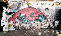 """Mural by Italian painter and street artist Gionata Gesi aka Ozmo. """"Big fish eat small fish, from an old Bruegel the elder print, mixed with a Ingres 'Turkish bath' painting. Working 3 days non stop. Basically I was inspired by the city, where everyone is thinking about money, business and fame, without any respect towards people and relationships.."""" (via Untruth)"""