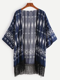 Kimono con estampado geométrico bajo con flecos - marino-Spanish SheIn(Sheinside)