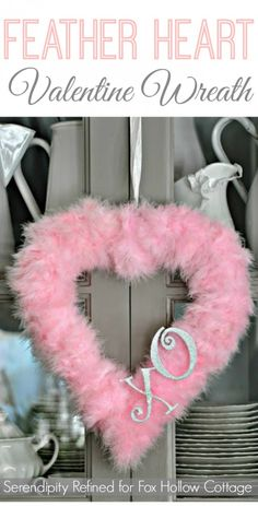 Valentine's Day Feather Heart Wreath { a craft tutorial}