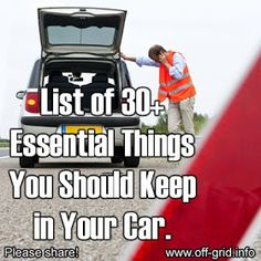 Survival Zombie Apocalypse: ~ List Of 30 Essential Things You Should Keep in Your Car. Disaster Preparedness, Survival Prepping, Survival Skills, Survival Gear, Survival Items, Car Survival Kits, Hurricane Preparedness, Survival Hacks, Survival Equipment
