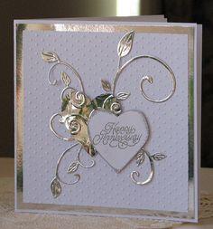 Anniversary card in silver and white Wedding Cards Handmade, Greeting Cards Handmade, Handmade Engagement Cards, Wedding Gifts, 50th Anniversary Cards, Anniversary Ideas, Karten Diy, Happy Birthday Cards, Happy Birthdays