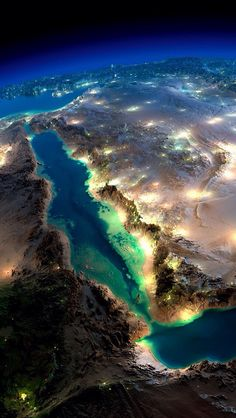 Magnificent NASA pictures of Earth from space (with post-prod work from Anton Balazh) Somalie Mer rouge, Arabie Saoudite Cosmos, Beautiful World, Beautiful Places, Beautiful Beautiful, Earth At Night, The Meta Picture, Foto Art, Red Sea, Aerial Photography
