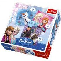 Die beliebten Frozen–Stars Elsa und Anna, der Schneemann Olaf und Kristoff zieren dieses tolle Motivpuzzle. Für jeden Schwierigkeitsgrad ist etwas dabei. Zwischen 20 und 50 Puzzleteilen kann entschieden werden. Die Puzzleteile liegen gut in der Hand und schulen neben dem ganzen Puzzlespaß auch die Feinmotorik. Puzzlegröße: ca. 20 x 19 cm Puzzleteil: ca. 3,5 x 3,5 x 0,2 cm