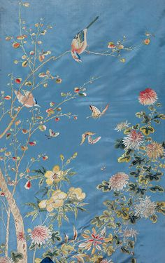 BLUE BROCADE EMBROIDERED PANEL -  Ming Dynasty (1368-1644) - The Jia Shu Tang Collection of Exquisite Chinese Embroidered Articles