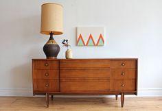 "Mid Century Modern 9 drawer dresser made by Hooker Furniture.  64"" Long x 18"" Depth x 30 1/4"" Tall"
