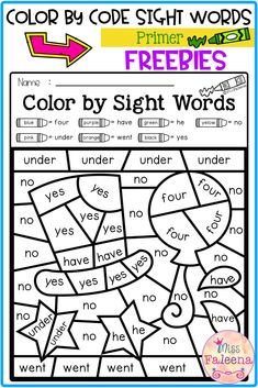 Free Color by Sight Words Primer has a page of color by sight words worksheet with an answer key.  This coloring page includes a color code for a specific set of sight words. These pages are perfect for pre-k, kindergarten or first grade students. You can use as classroom activities, morning work, homework, word work and literacy centers. Pre- K | Kindergarten | Kindergarten Worksheets |  Coloring Pages | Color by Code | Color by Sight Words | Homework | Morning Work | Worksheets | Free… First Grade Freebies, Kindergarten Freebies, First Grade Worksheets, Sight Word Worksheets, Sight Word Activities, Classroom Activities, Pre Primer Sight Words, Dolch Sight Words, Sight Word Coloring