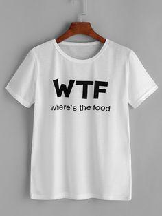 T shirt druckbuchstaben deutsch romwe - Crop top tank Shirt Print Design, Tee Shirt Designs, T Shirt Print, Funny Shirts, Tee Shirts, Mode Kawaii, T Shirt World, Ellesse, Printed Tees