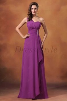A-line One-shoulder Chiffon Floor-length Waistband Zipper Back Prom Dresses