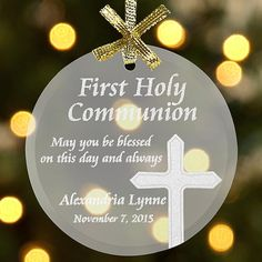 """A Personal Creations Exclusive! These elegant glass ornaments are a sparkling reminder of their spiritual milestone. Choose Communion design with cross or Confirmation design with dove. We engrave both with any 1-line message, up to 18 characters, and any date. Comes with a gold ribbon for hanging. Measures 3"""" diameter."""