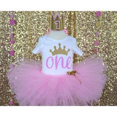 Princess Style outfit, Princess party, First birthday outfit, First birthday baby girl, one year old girl outfit, Pink and gold, pink tutu