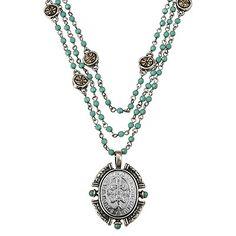 Zirconmania - Cubic Zirconia Fine Jewelry Acrylic Opaque Turquoise Link Three Strand Necklace
