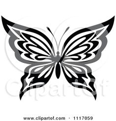 Vector Clipart Black And White Butterfly 4 - Royalty Free Graphic ...